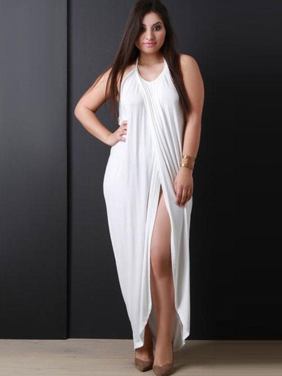 Plus Size White Halter Women\'s Maxi Dress in 2019 | Plus Size ...
