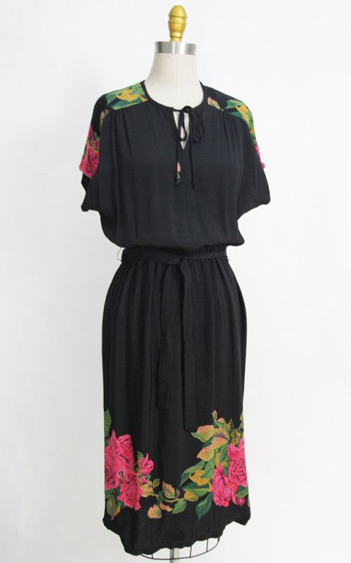 1970s black rose print hippie boho festival disco dress