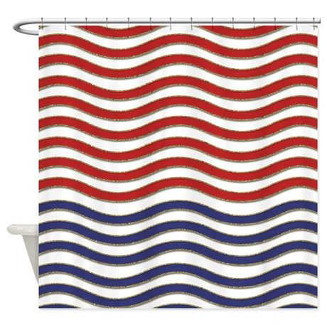 Red  White and Blue Waves Shower Curtain on CafePress comRed  White and Blue Waves Shower Curtain. Red And Blue Shower Curtain. Home Design Ideas