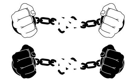 Male Hands Breaking Steel Handcuffs Black And White Vector Illustration Hand Tattoos For Guys Handcuffs Drawing Cuff Tattoo