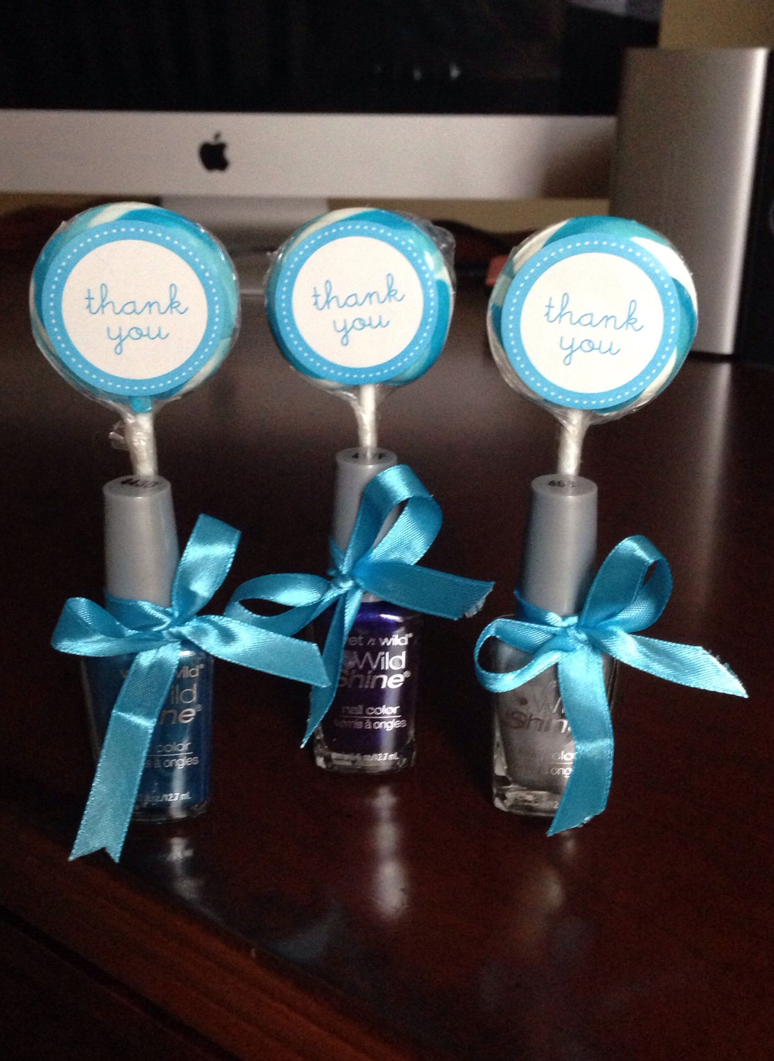 DIY Baby Shower Favors For Boy...Affordable! You Can Buy Nail Polish From  Walmart For $0.93 Each, Set Of 24 Lollipops Including Ribbons U0026 Thank You  Stickers ...