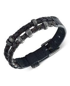 Fossil Men S Bracelet Black Leather Double Wrap Fashion Jewelry Watches Macy