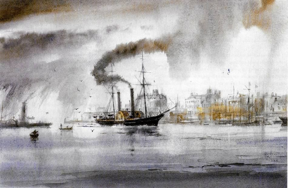 . The ship in this atmospheric watercolour by Ian Marshall, is the P.S. (Paddle Steamer) Euxine of 1847, seen here at Southampton in 1848.