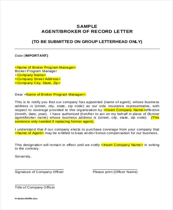 agent appointment letter template free word pdf format download - notify letter