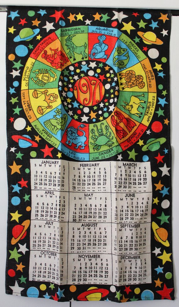 Vintage Calendar Towel 1971 Hanging Textile Horoscope Zodiac Signs