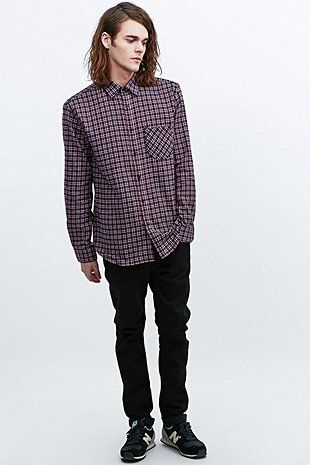Selected Homme Haute Flannel Shirt in Navy and Red - Urban Outfitters