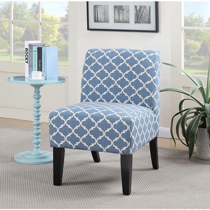 Parma Blue Quatrefoil Slipper Accent Chair Accent Chairs