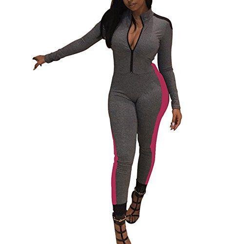 75d67235446 Joseph Costume Women s Sports Long Sleeve Zipper Up Bodycon One Piece  Jumpsuit Long Pants Sweatsuit Activewear