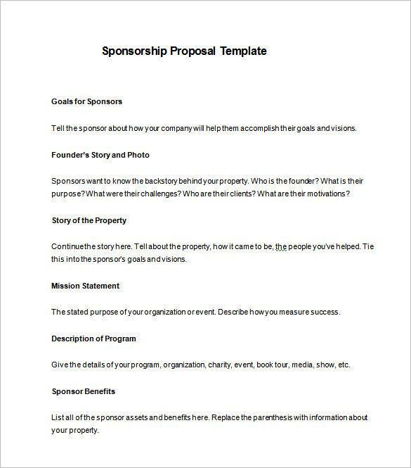 sponsorship proposal template free word excel pdf format sample - free sponsor form template