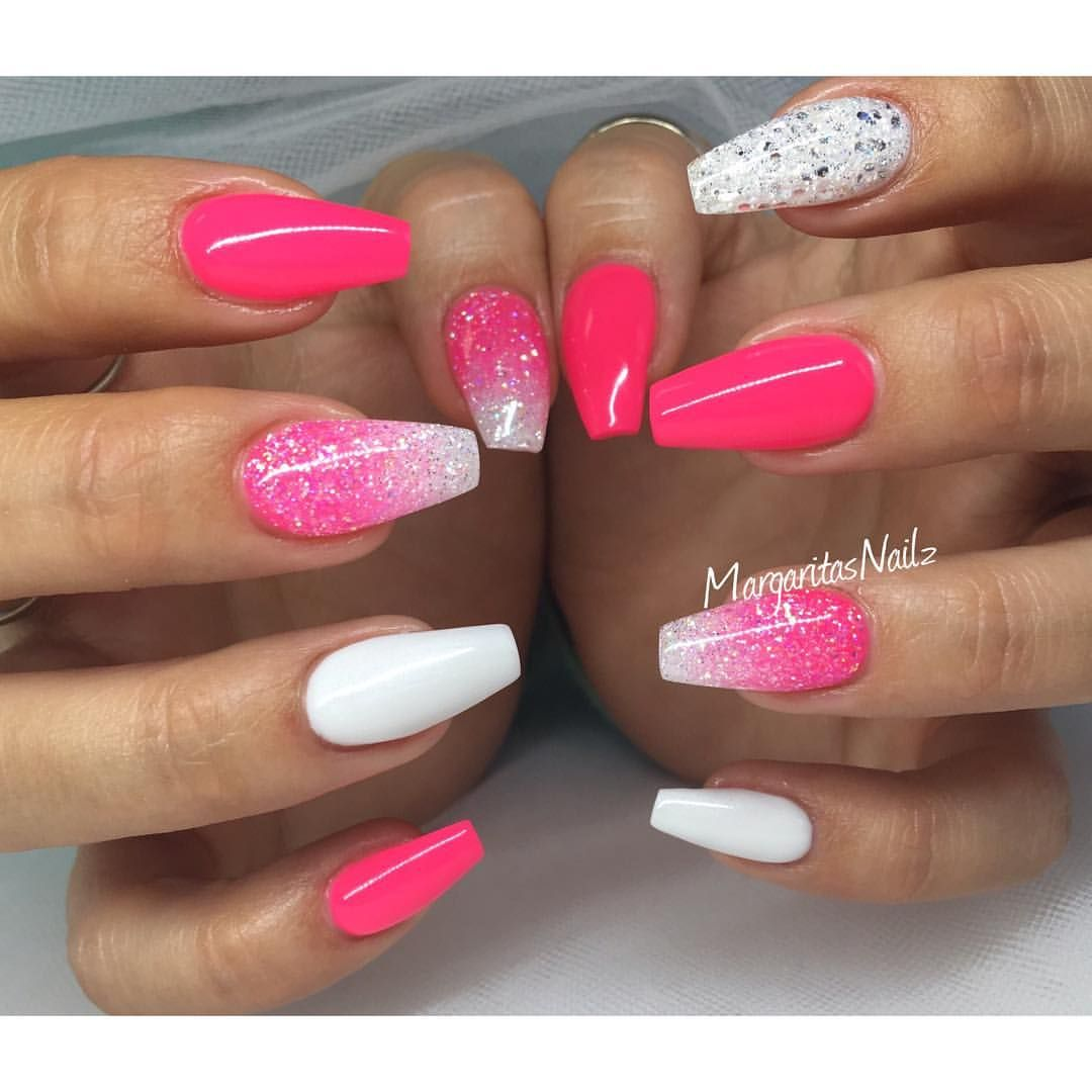 Neon pink and white coffin nails glitter ombr spring ...