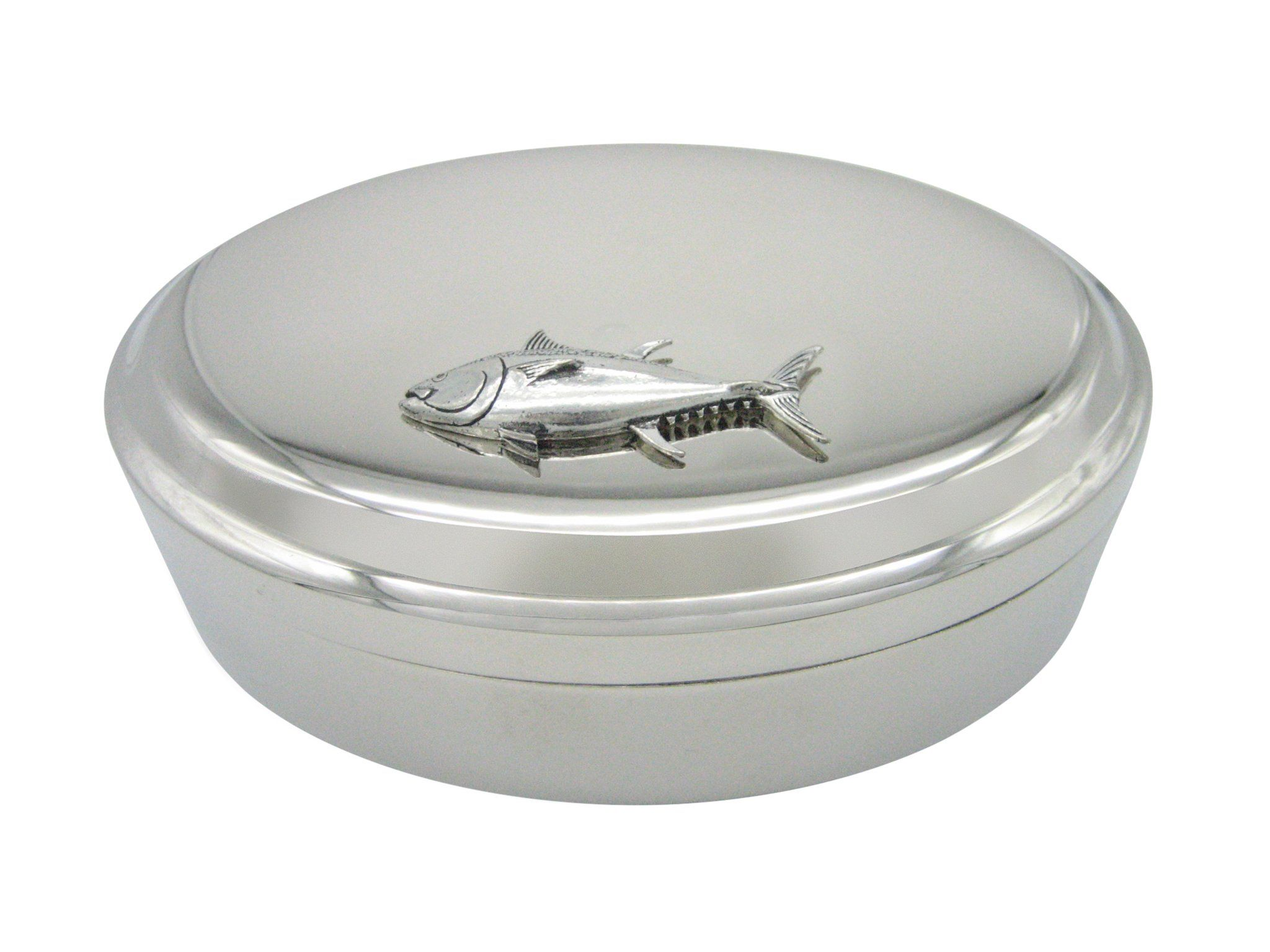 Silver Toned Etched Sea Horse Pendant Oval Trinket Jewelry Box