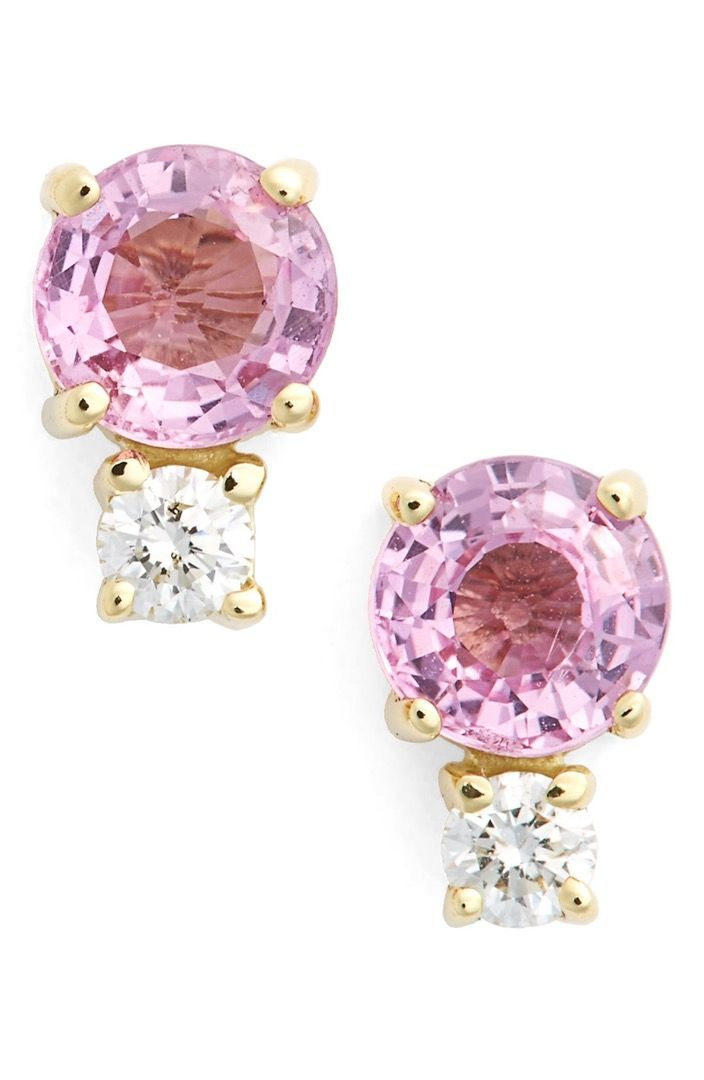 Main Image - Jemma Wynne Pink Sapphire & Diamond Stud Earrings
