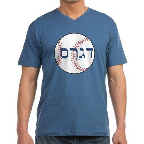 437f59bf83c2 Hebrew Dodgers Baseball Mens V-Neck T-Shirt on CafePress.com ...