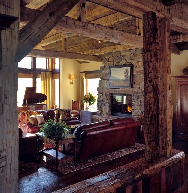 Rustic Cabin Log Den Houzz Living RoomsEclectic RoomLiving