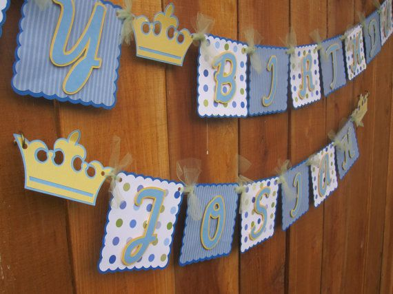 Little Prince First Birthday Banner by TheCraftyGodMother on Etsy, $35.00