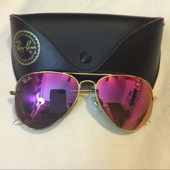 194e706fc5dca Authentic RAY-BAN aviator pink mirrored new with case Ray-Ban Accessories  Glasses