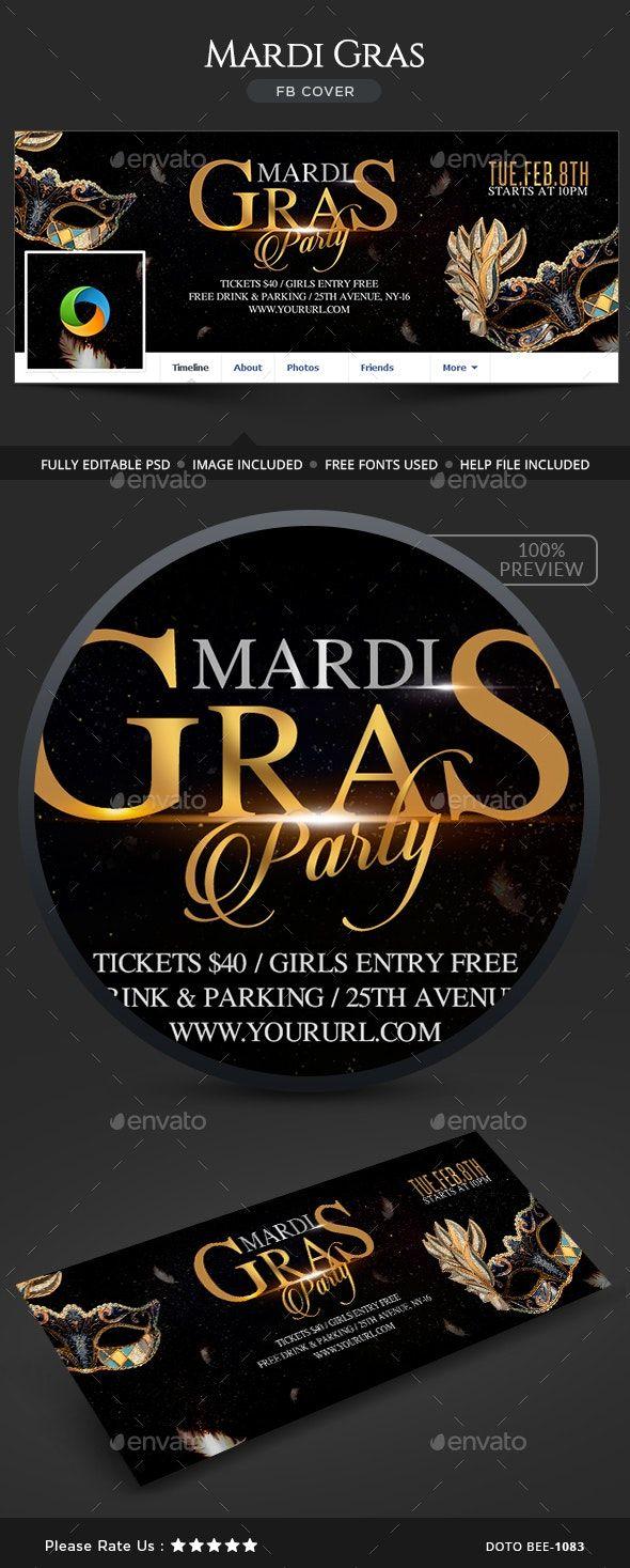 Mardi Gras Party Facebook Cover Affiliate Gras, AD,