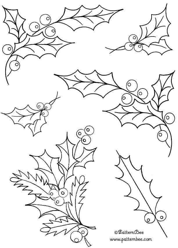 Holly embroidery pattern | pinturas | Pinterest | Navidad, Bordado y ...