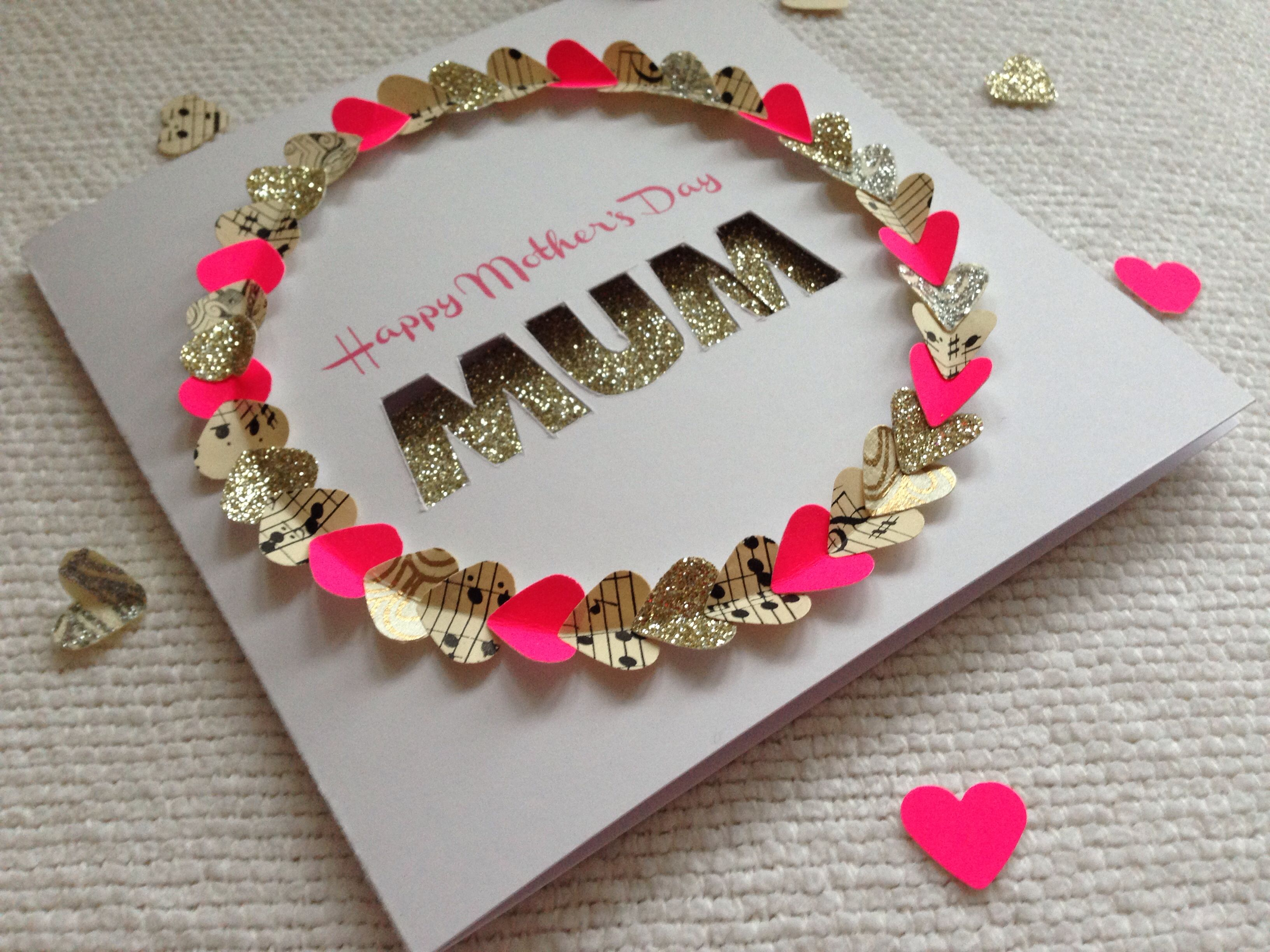 Handmade motherus day cards goldpink and vintage heart wreath