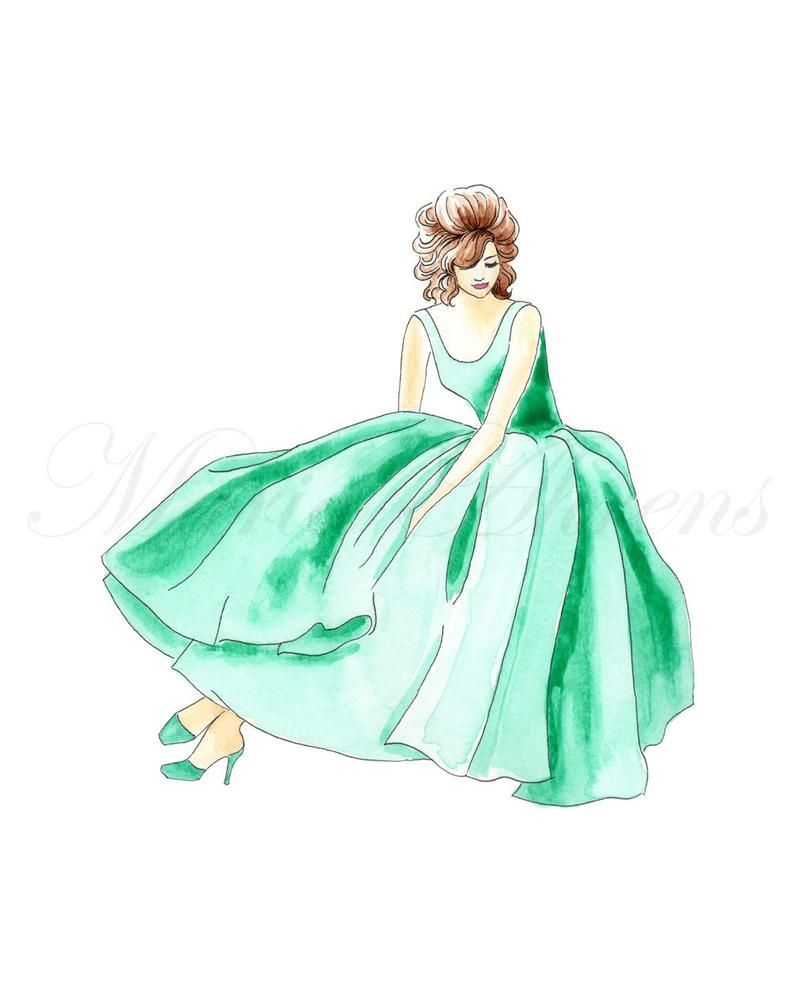 A fun pop of color will brighten up a room, and this original watercolor painting is no exception. It depicts a lady reclining in an emerald green 1950s gown and matching shoes. Whether hanging in a gallery wall arrangement or on its own, this piece brings whimsy and elegance to any space. #watercolor #art #wallart #painting #fashionillustration #vintagestyle #1950s #1950sfashion #homedecor #officedecor