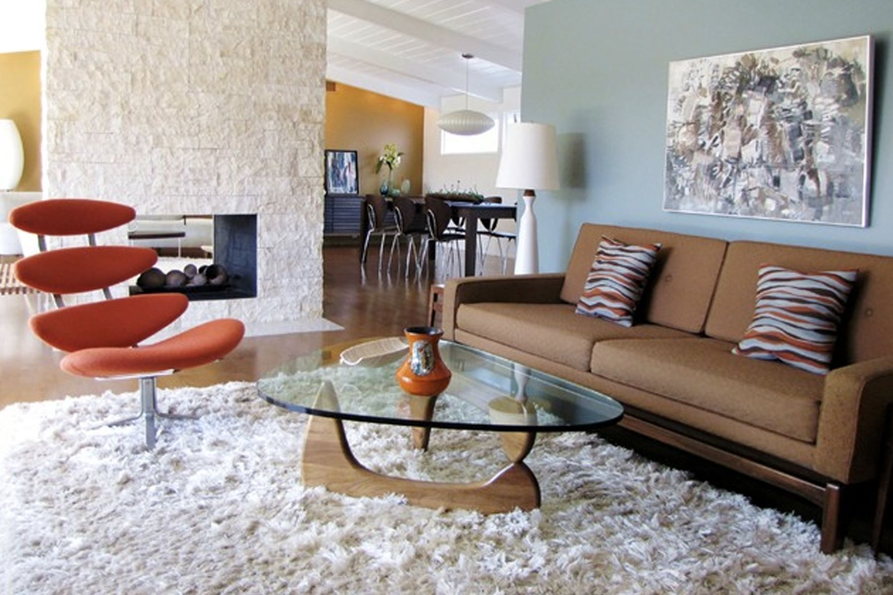 FurnitureBeautiful Mid Century Living Room With Brown Sofa Feat Striped Cushion Also Triangle Glass Coffee Table And Orange Lounge Chair Above White
