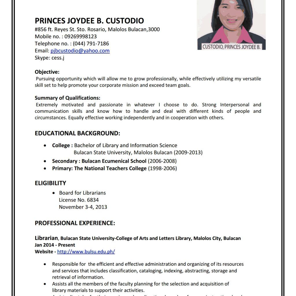 Sample Of Good Resume For Job Application Resume writing