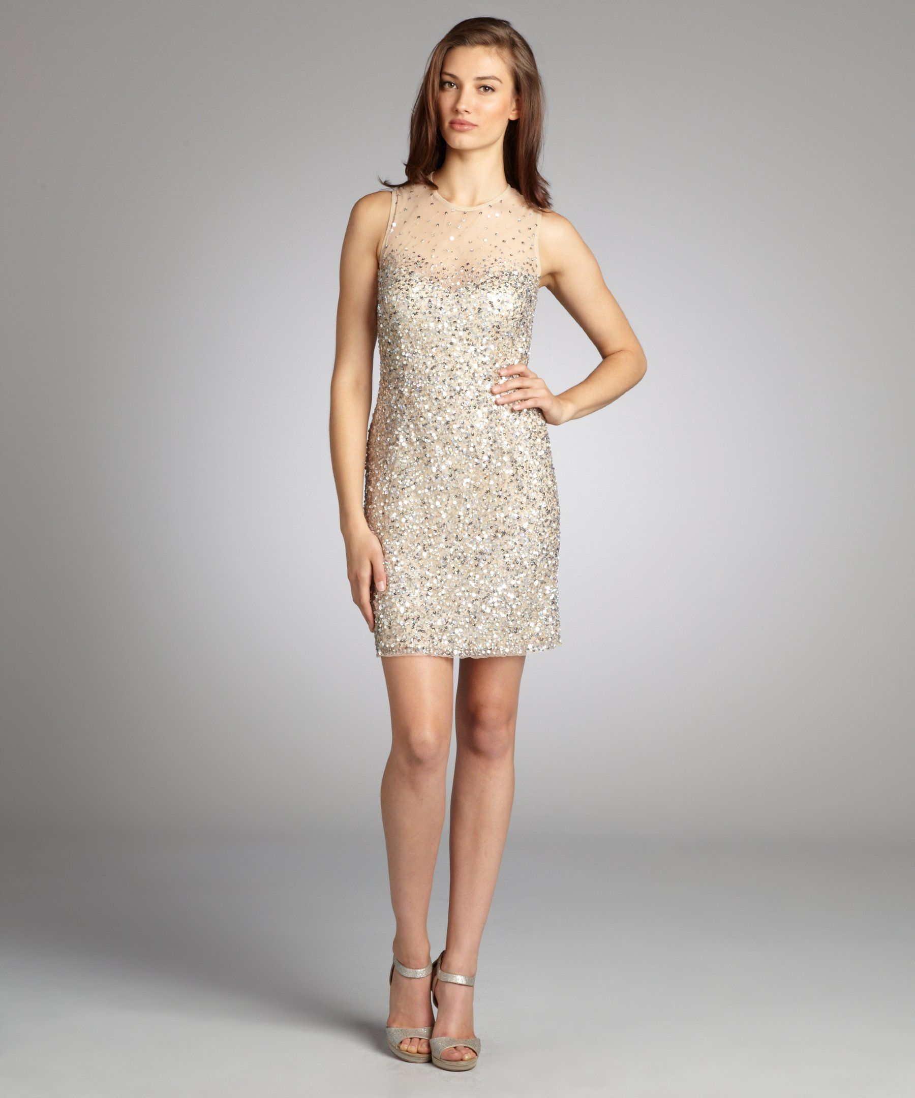 NW Nightway nude sequined illusion neckline sleeveless party dress ...