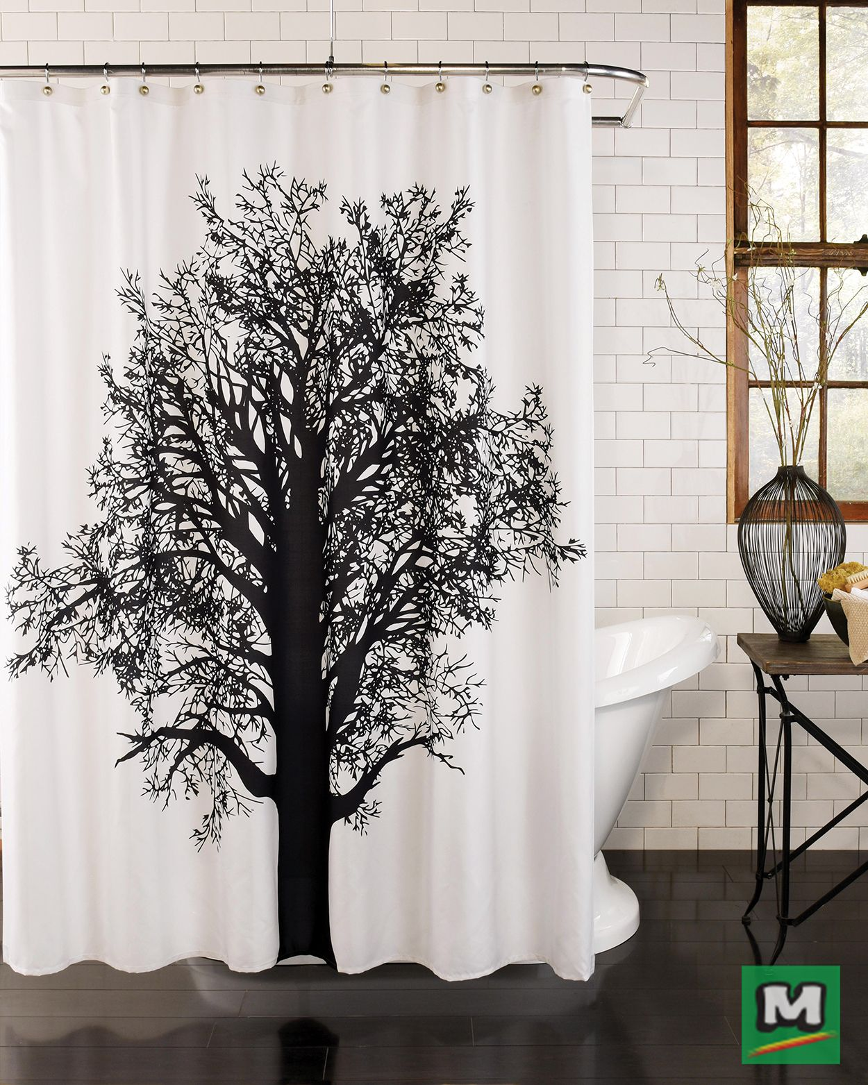 Complete The Look Of Your Bathroom With This Excel Home Fashions Tree Silhouette Fabric Shower Curtain Simple Botanical Design Will Add Perfect