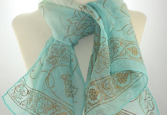 Silk Chiffon Scarf  Pale Green to Aqua Gold Grape Leaves Japan Mid Century