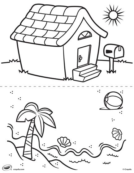Fun coloring book | Etsy | Coloring Pages Of Beach Houses  | title