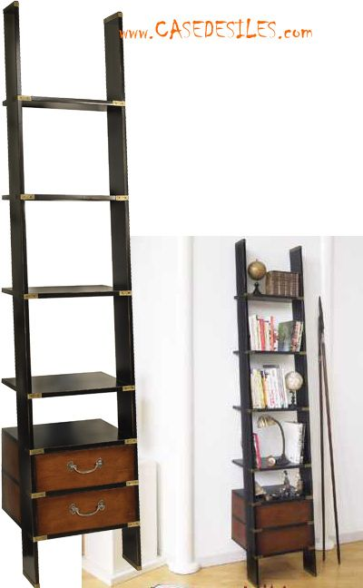 tag re biblioth que chelle bois et bronze mf068 d co maison pinterest echelle bois. Black Bedroom Furniture Sets. Home Design Ideas