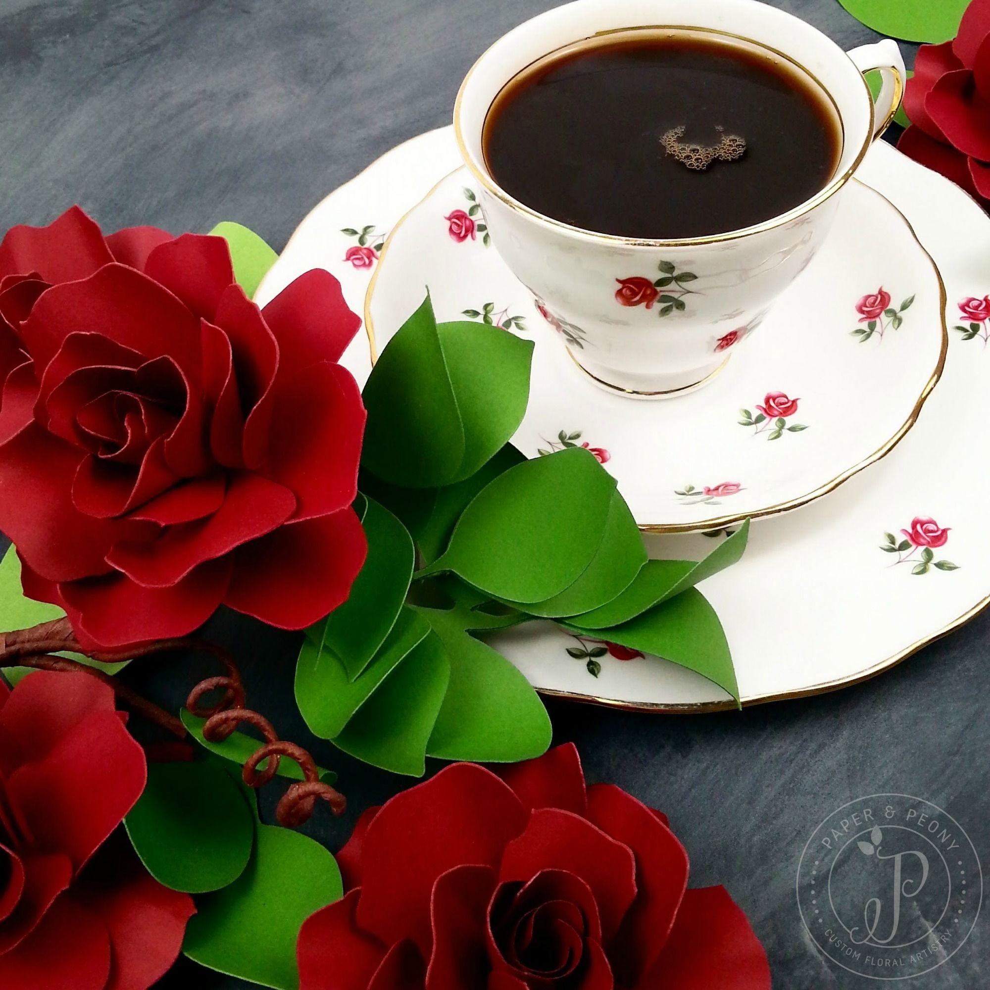 Paper Peonies Happy Friday Teacup Tea Cup