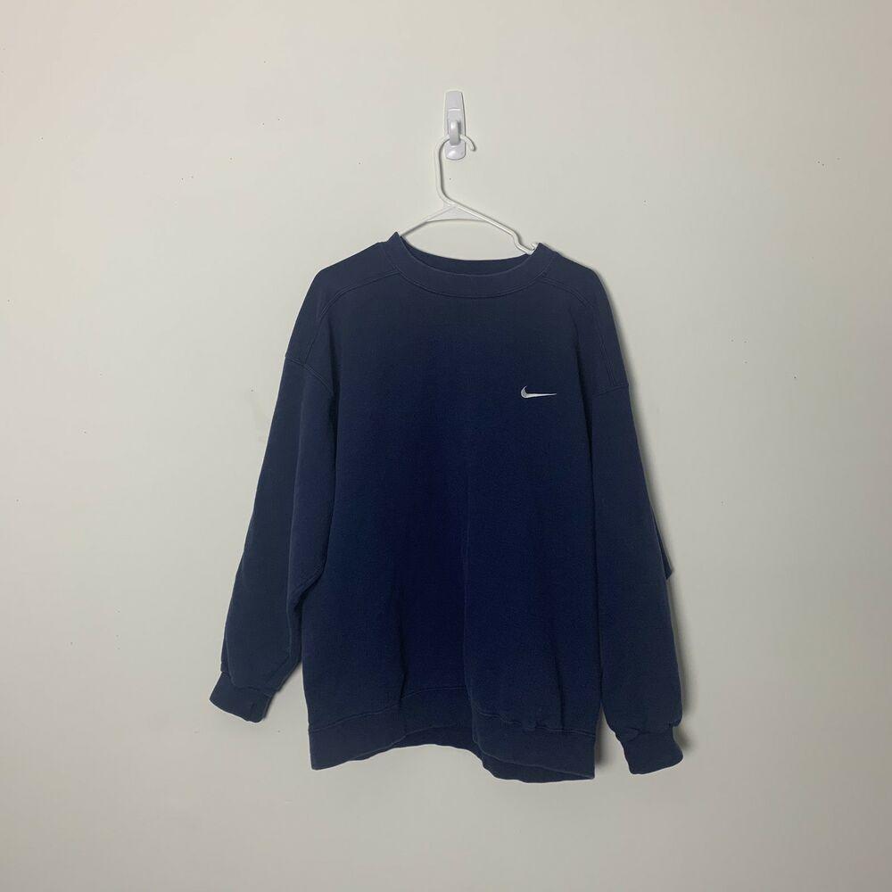 Vintage Nike Embroidered Swoosh Crewneck Sweatshirt Men S Size Large Navy Blue Mens Sweatshirts Crew Neck Sweatshirt Vintage Nike [ 1000 x 1000 Pixel ]