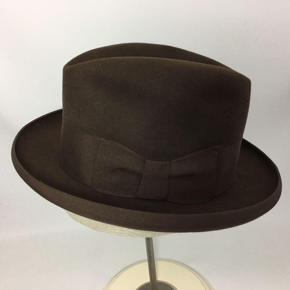 33ff3af10 Dobbs Mens Homburg Felt Hat Vintage Chocolate Brown Fedora Size 6 5 ...