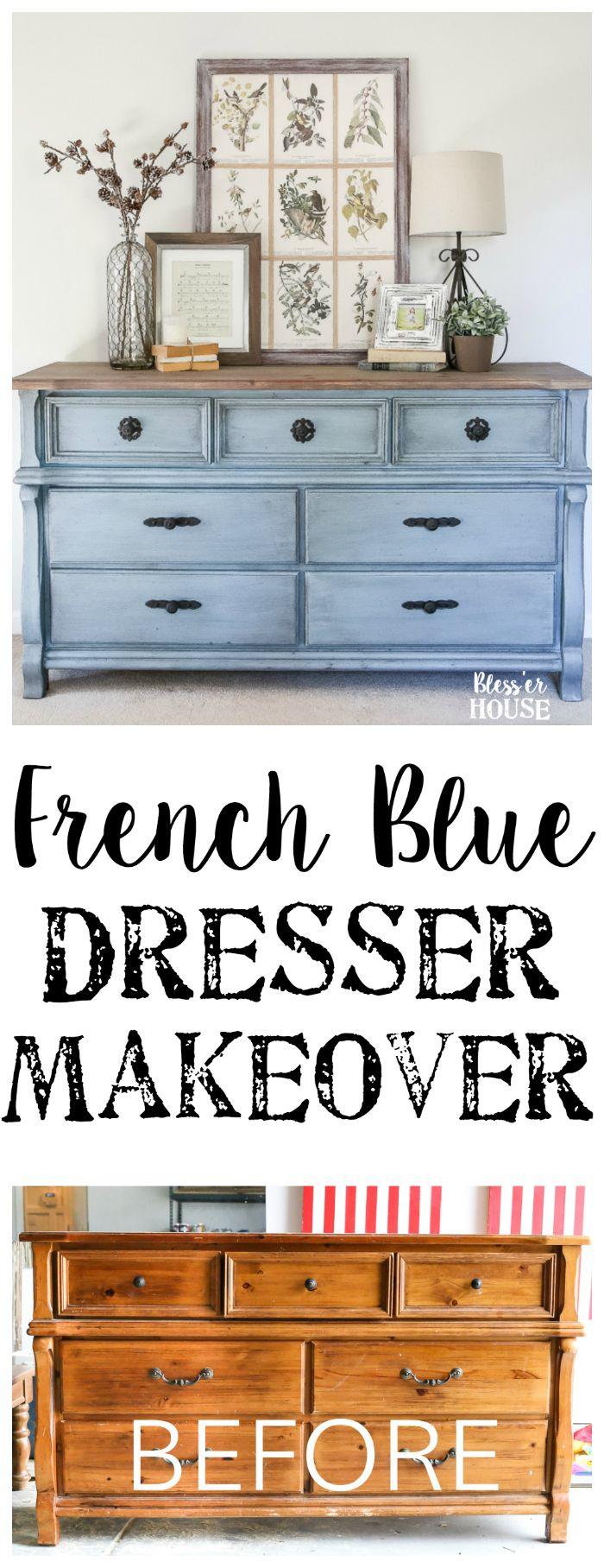 French Blue Dresser Makeover   Furniture makeover, Furniture diy ...