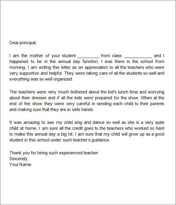 Appreciation Letter Teacher Sample Free Documents Download Word