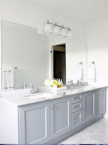 Cabinets In BM Pigeon Gray Sinks Are KOHLER K Ladena - Kohler fairfax bathroom faucet