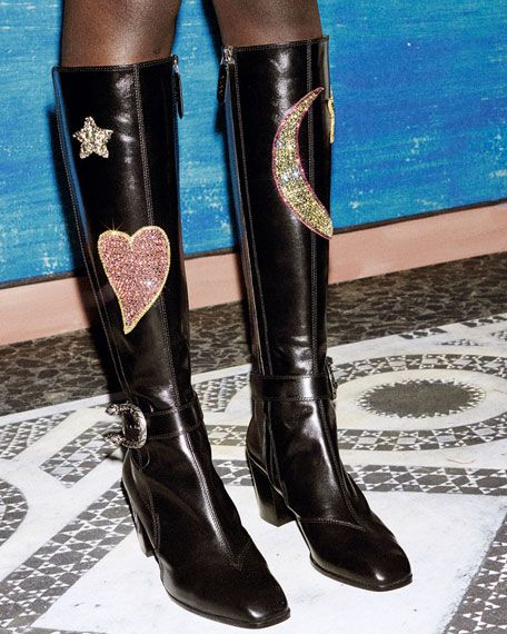 12df52c5886 Gucci Dionysus Embroidered Knee Boot