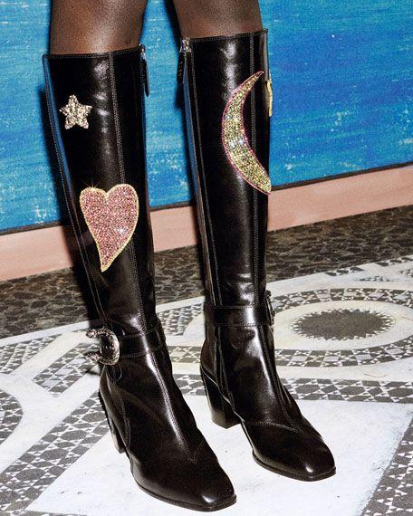 e3da0ae24d8 Gucci Dionysus Embroidered Knee Boot