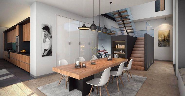 Candelabros en la mesa en el comedor moderno mobiliario for Decoracion comedor moderno