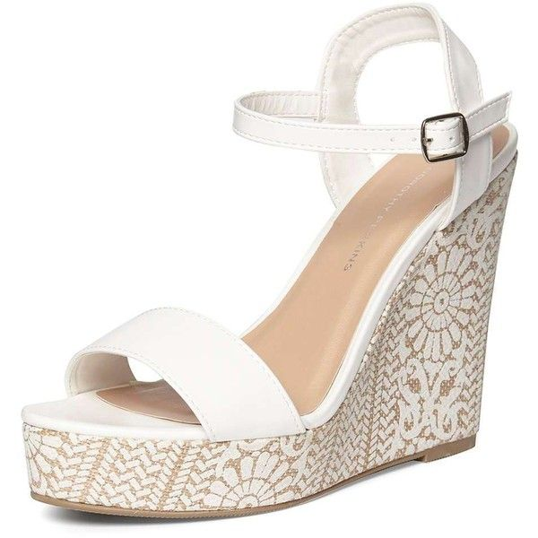928ded6f3e32 Dorothy Perkins White  Ruby  Printed Wedges ( 45) ❤ liked on Polyvore  featuring shoes