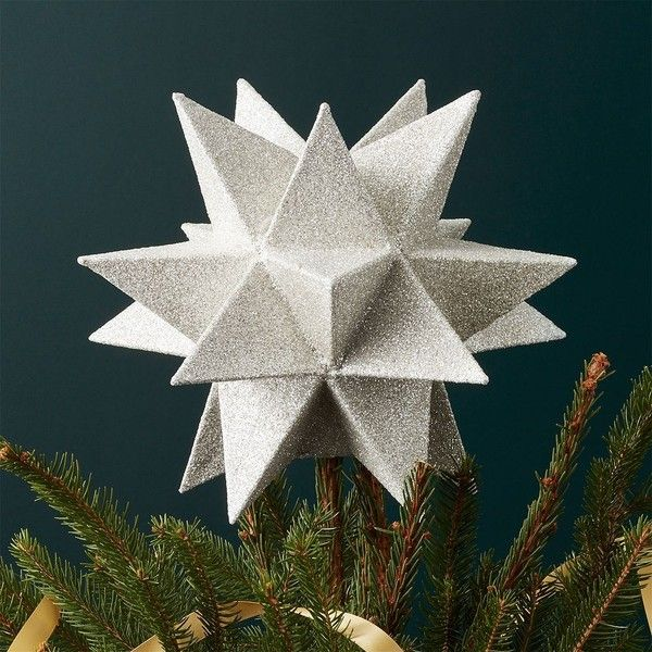 Crate  Barrel Moravian Silver Star Tree Topper ($20) ❤ liked on