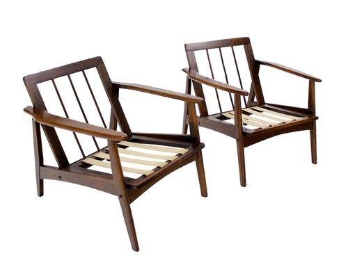 beach chair photo frame heavy duty shower pair of danish mid century modern lounge frames house ebay