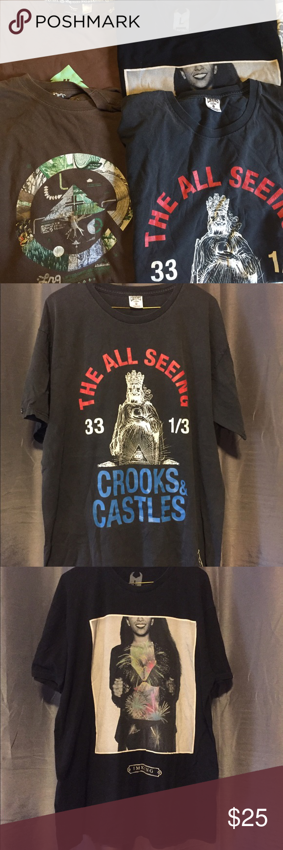 4 Men's T Shirts- Crooks & Castles, IMKING, & LRG Worn and loved ❤️ All size large. All have minor flaws, but still lots of life. Can take more pictures upon request ✨ Lrg Shirts Tees - Short Sleeve