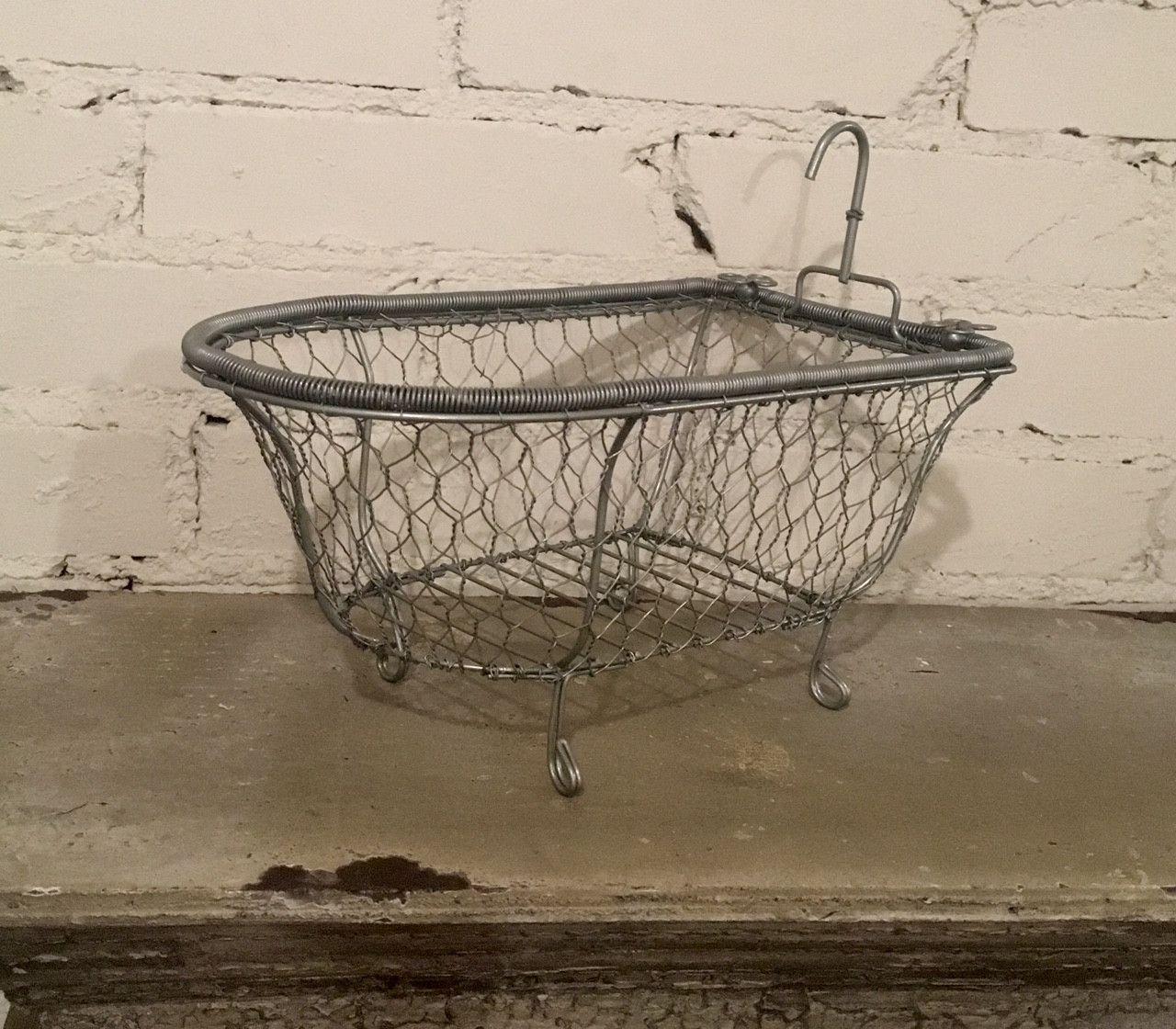 Chicken Wire Basket Soap Dish Bathroom Decor Bathtub Caddy Towel ...