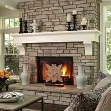 Mantle, Def In Cherry. Maybe Dry Stacked Stone Too. Love Craftsman Windows.