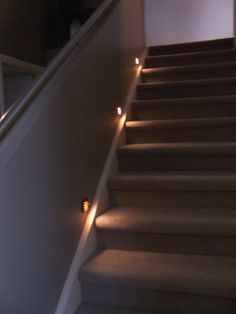 Carpet On Stairs Led Lights Google Search Stairway Lighting Basement Stairs Stair Lighting