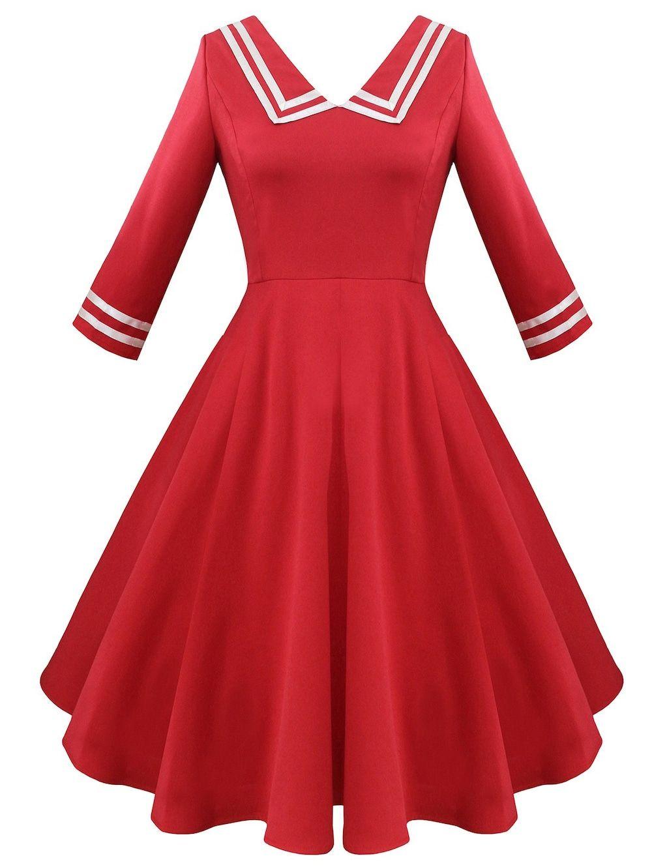 Striped V Neck Fit And Flare Vintage Dress Vintage Red Dress Vintage Dress Blue Women Bodycon Dress [ 1330 x 1000 Pixel ]
