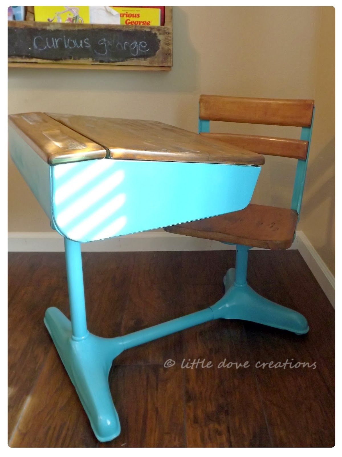 Little Dove Creations: taking it old school. Refinishing a vintage school  desk.