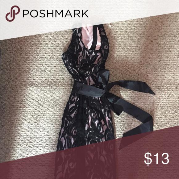Black and pink dress. Flower detailing Black and pink dress. Flower detailing. Ribbon belt Charlotte Russe Dresses